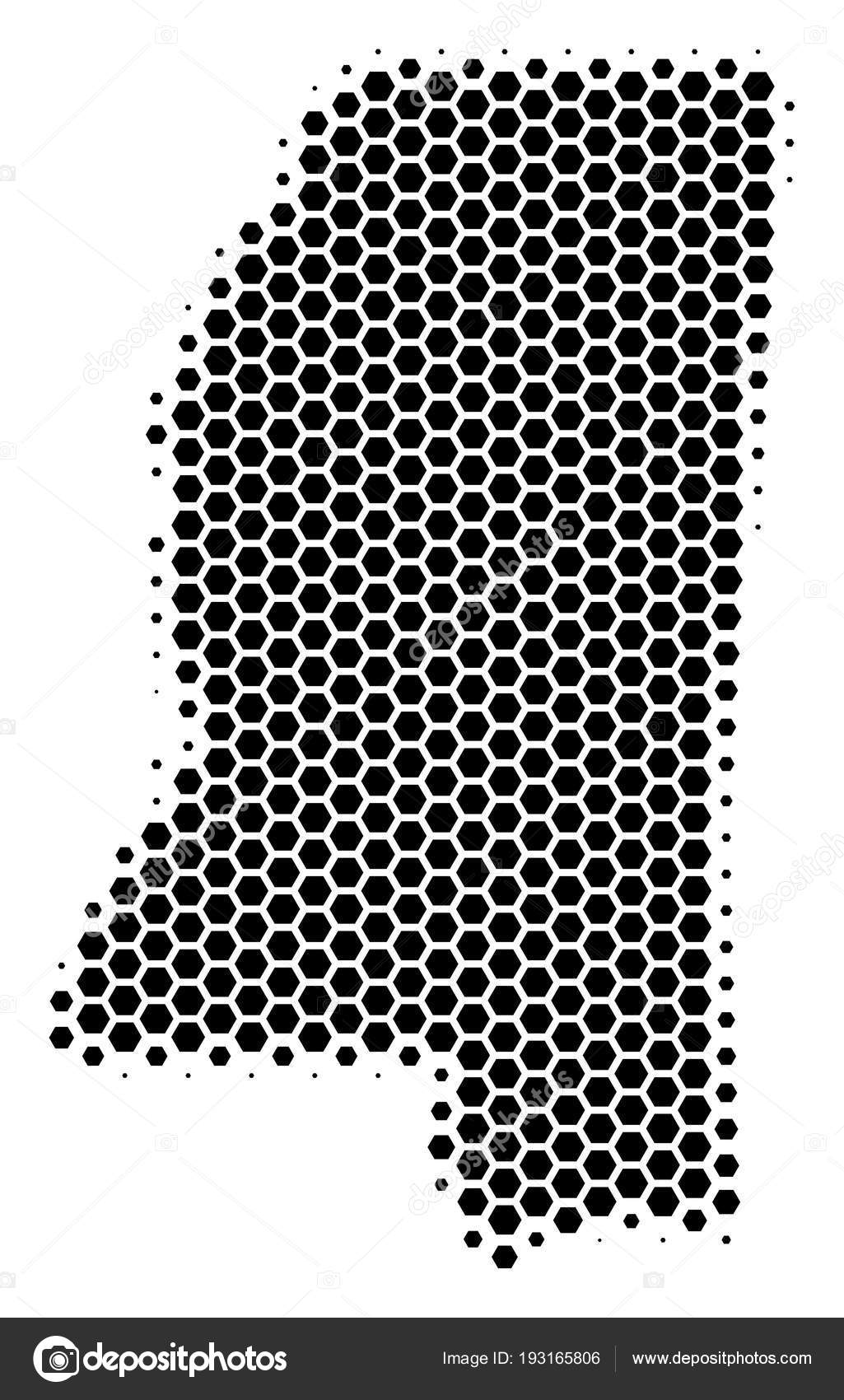 Hexagon Halftone Mississippi State Map — Stock Vector © ahasoft on