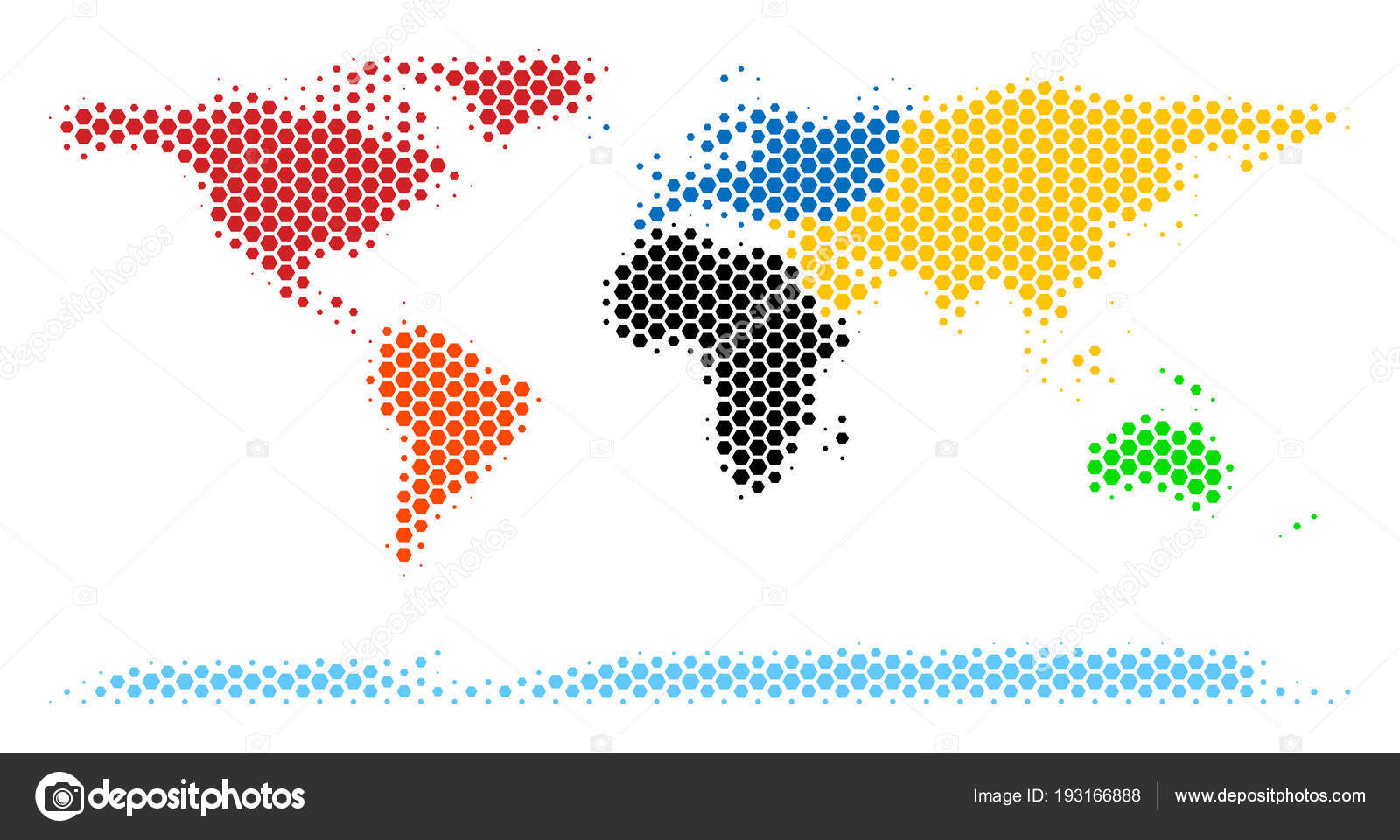 Hexagon halftone world continent map stock vector ahasoft 193166888 halftone hexagon world continent map vector geographic map on a white background vector mosaic of world continent map designed of hexagonal blots gumiabroncs Gallery
