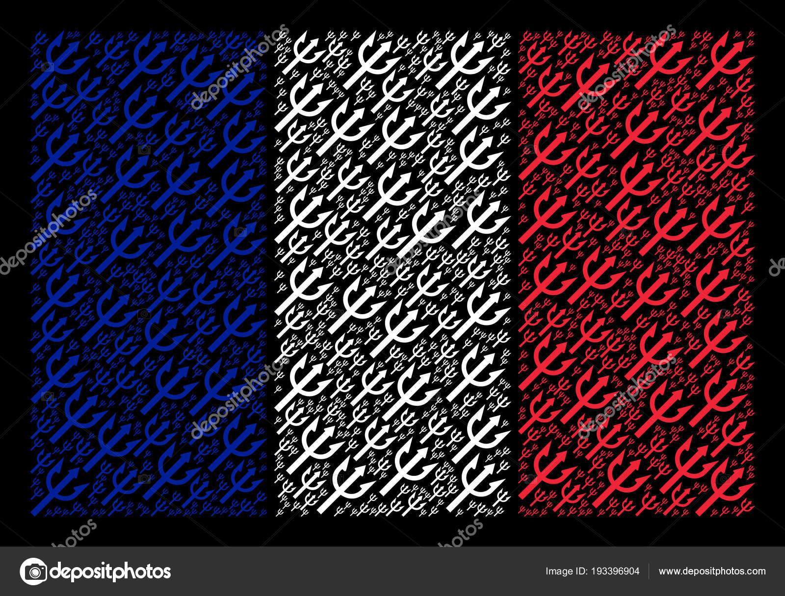 Flaga Francuski Mozaika Widelec Trident Ikony Grafika Wektorowa