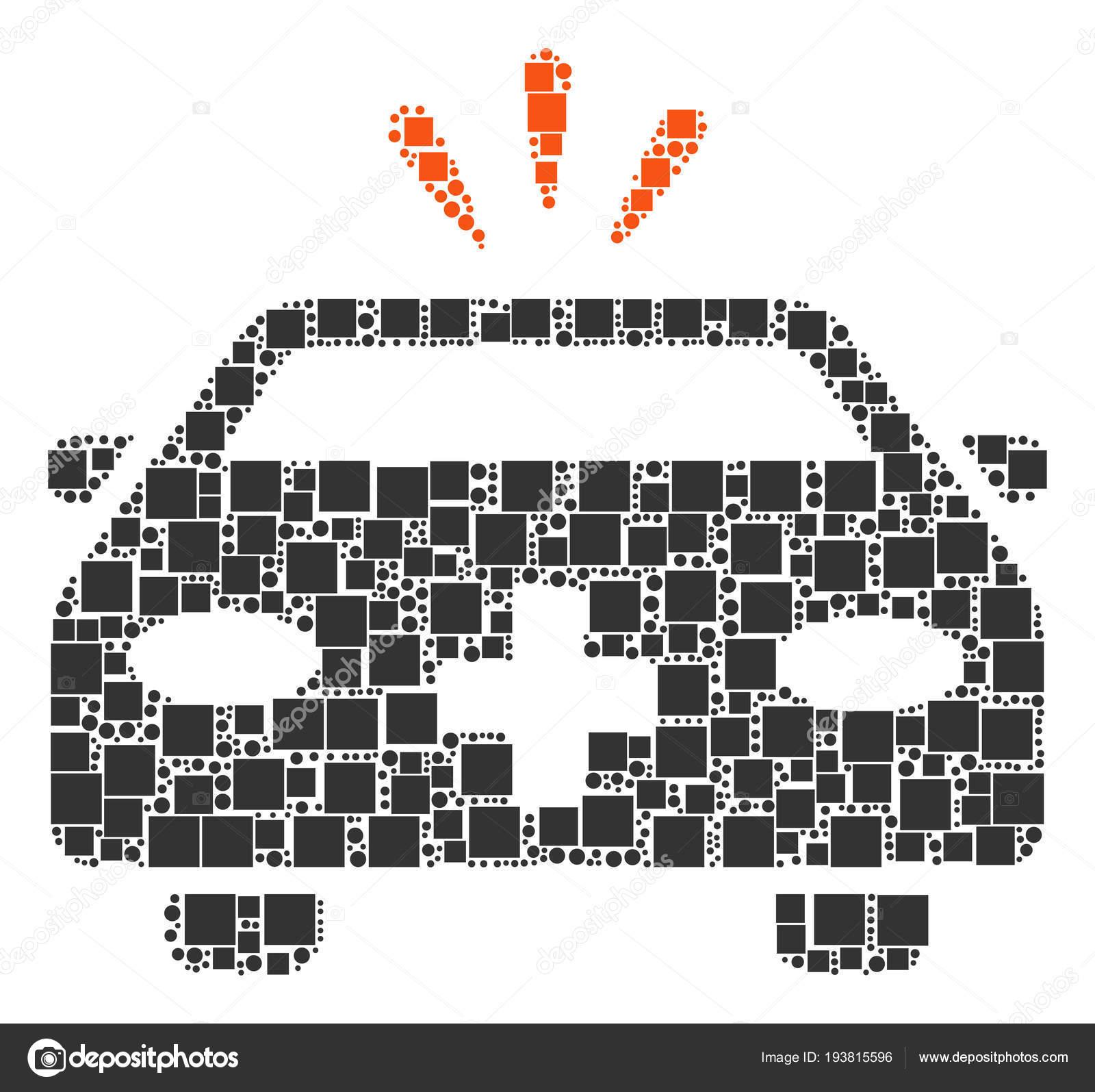 Collage de emergencia coche de cuadrados y círculos — Archivo ...