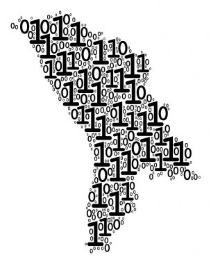 Moldova Map Composition of Binary Digits