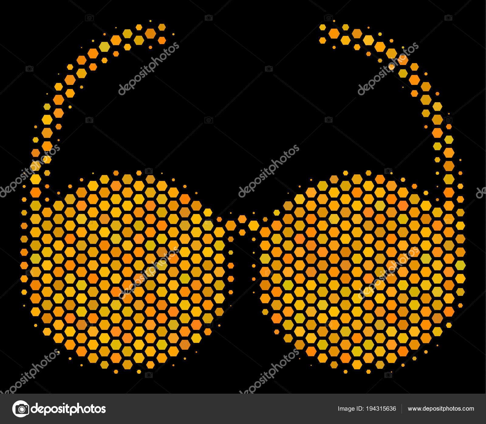 e37997556 Pictograma de ouro brilhante com padrão geométrico de mel pente em um fundo  preto. Conceito de vetor de ícone de óculos feito de células de ...