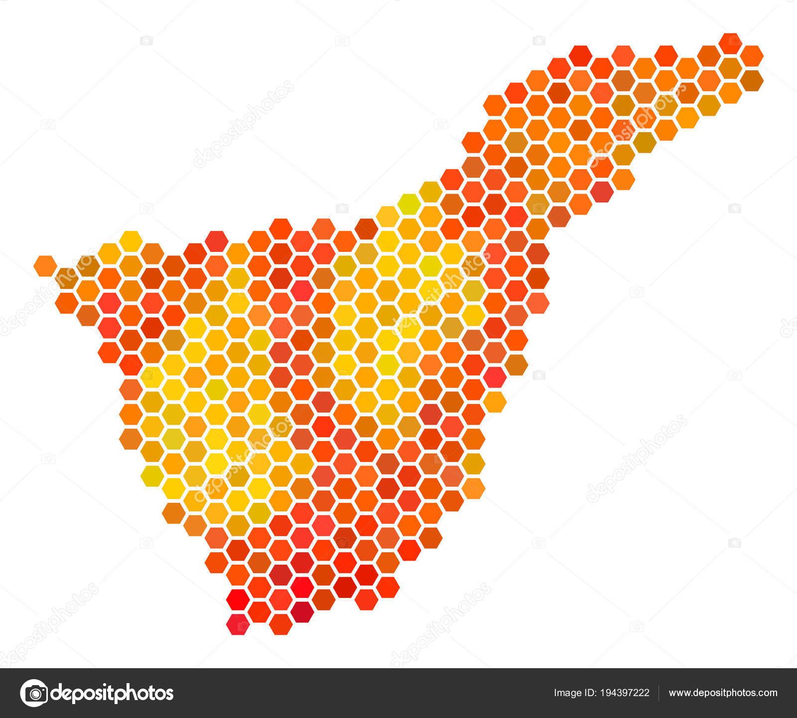 Teneriffa Karte Spanien.Feuerinsel Sechseck Teneriffa Spanien Karte Stockvektor Ahasoft