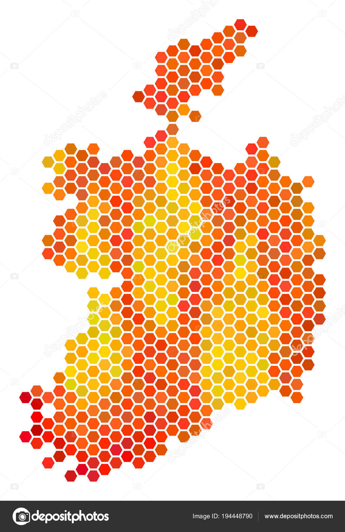 orange hexagon ireland republic map stock vector ahasoft 194448790