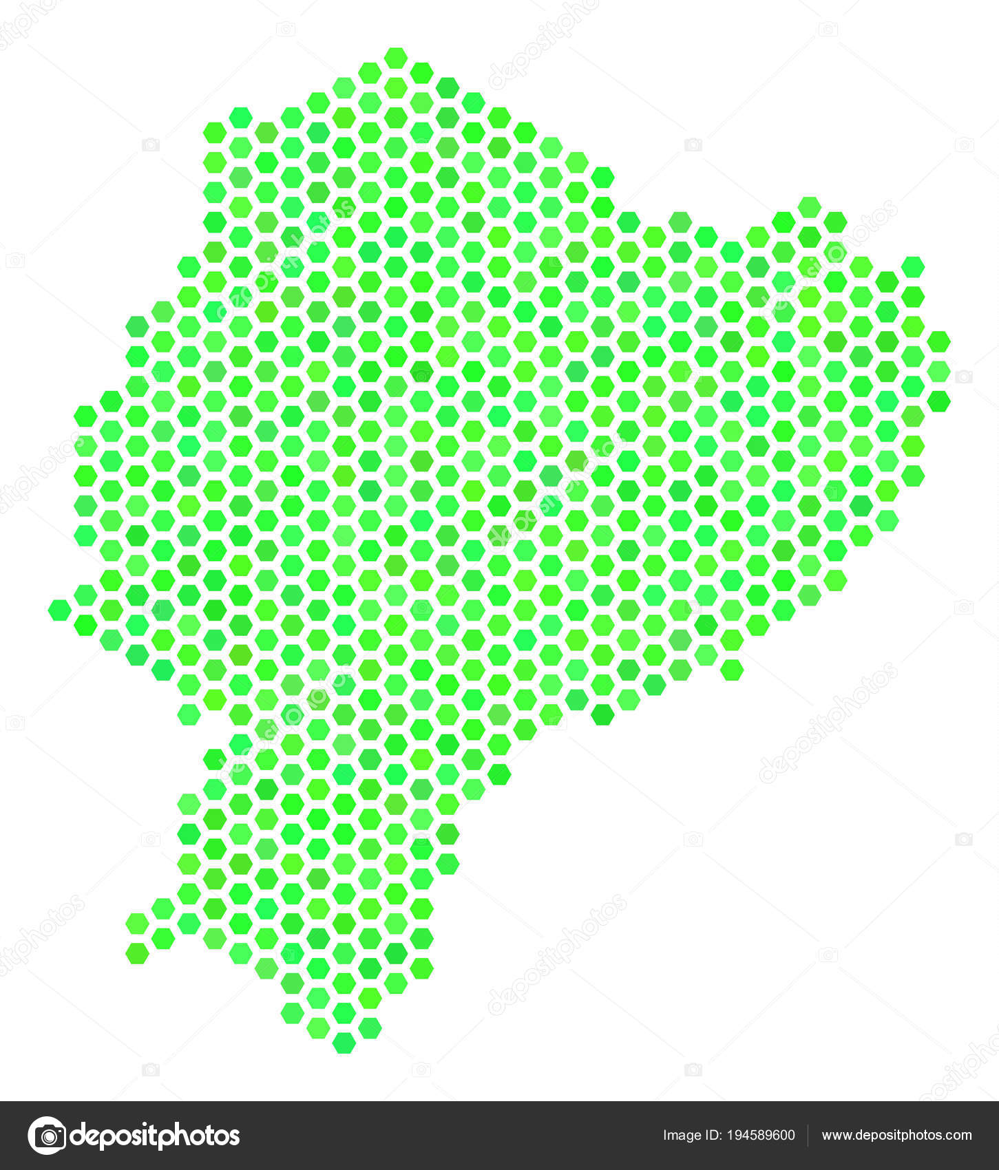 Green Hex Tile Ecuador Map Stock Vector Ahasoft 194589600