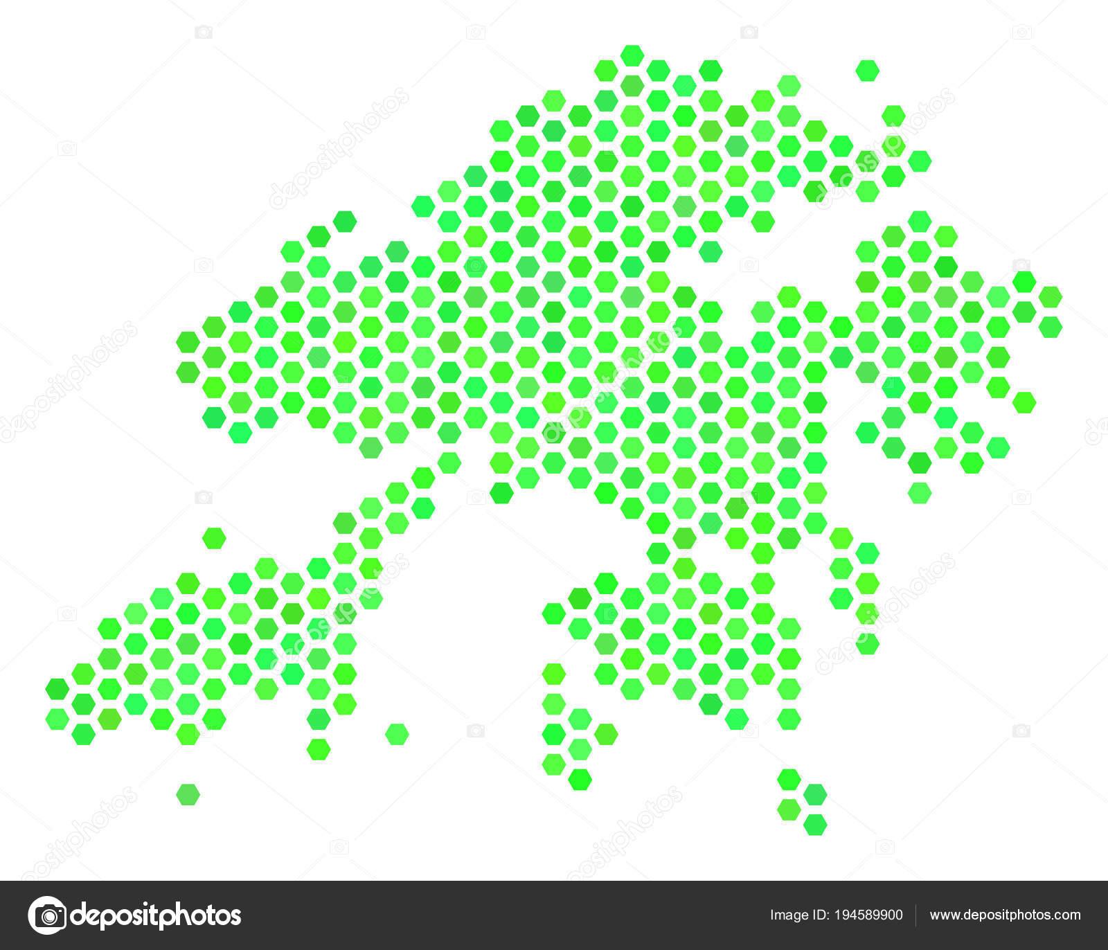 Grüne Hex Tile Hong Kong Map Stockvektor Ahasoft 194589900