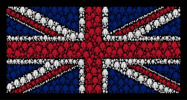 Great Britain Flag Pattern of Opium Poppy Icons