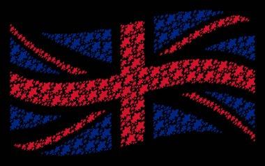 Waving UK Flag Pattern of Oak Leaf Icons