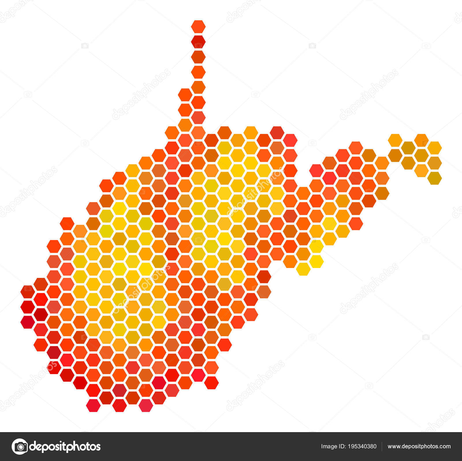 Orange Hexagon West Virginia State Map Stock Vector C Ahasoft
