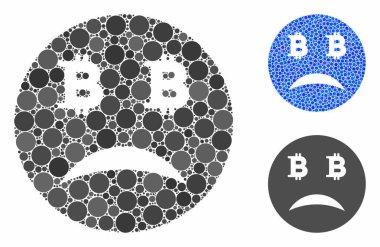 Sad Bitcoin Smiley Mosaic Icon of Spheric Items