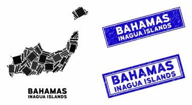 Mosaic Inagua Islands Map and Distress Rectangle Seals