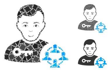 Social engineer Composition Icon of Abrupt Pieces