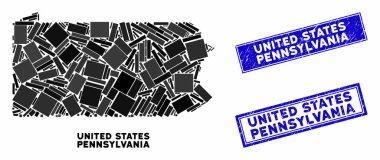 Mosaic Pennsylvania State Map and Distress Rectangle Seals