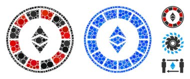 Ethereum Casino Roulette Composition Icon of Circle Dots