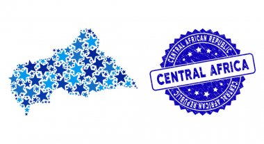 Blue Star Central African Republic Map Collage and Textured Stamp