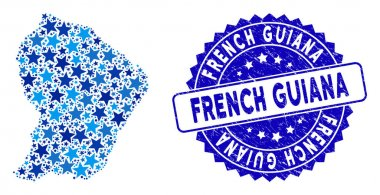 Blue Star French Guiana Map Composition and Scratched Stamp
