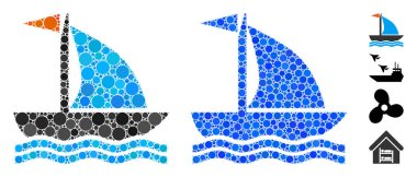 Boat Composition Icon of Round Dots