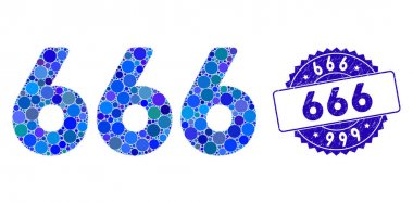 Mosaic 666 Digits Text Icon with Scratched 666 Stamp