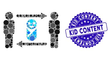Collage Persons Child Exchange Icon with Scratched Kid Content Seal
