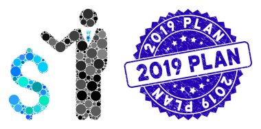 Mosaic Banker Icon with Grunge 2019 Plan Stamp