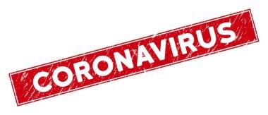 Kırmızı Tehlike Coronavirus Dikdörtgen Mührü