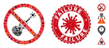 Collage No Violin Icon with Coronavirus Distress Failure Seal