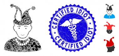 Virus Mosaic Fool Icon with Health Care Textured Certified Idiot Seal