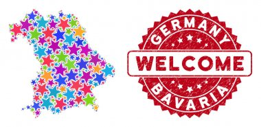 Colorful Star Bavaria Land Map Composition and Distress Welcome Stamp
