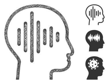 Sound Thinking Polygonal Web Vector Mesh Illustration