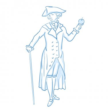 Scientist Newton. Middle social class in medieval Europe. Line sketch. Stock vector illustration.