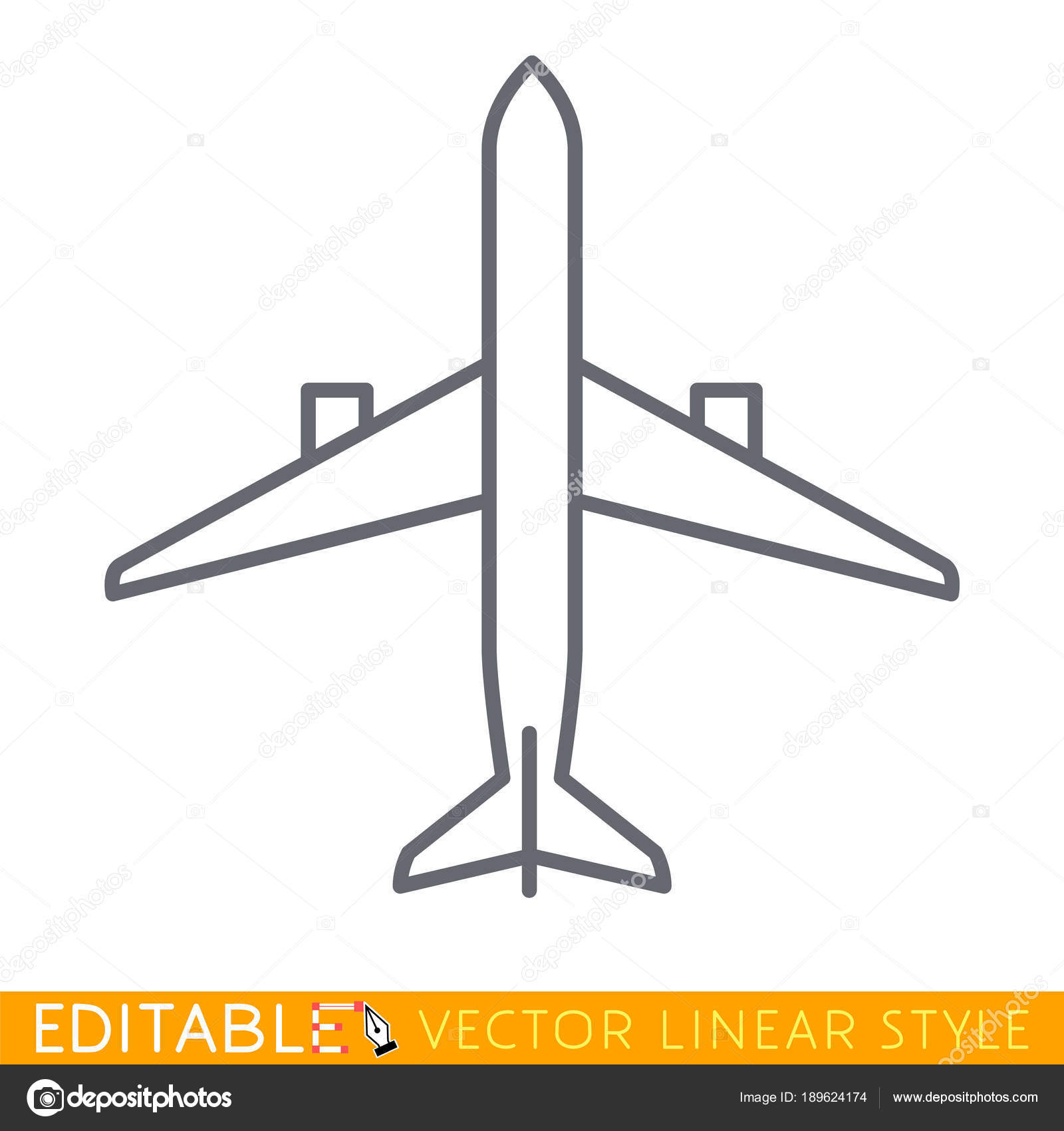 Top View Airplane Editable Line Sketch Icon Stock Vector