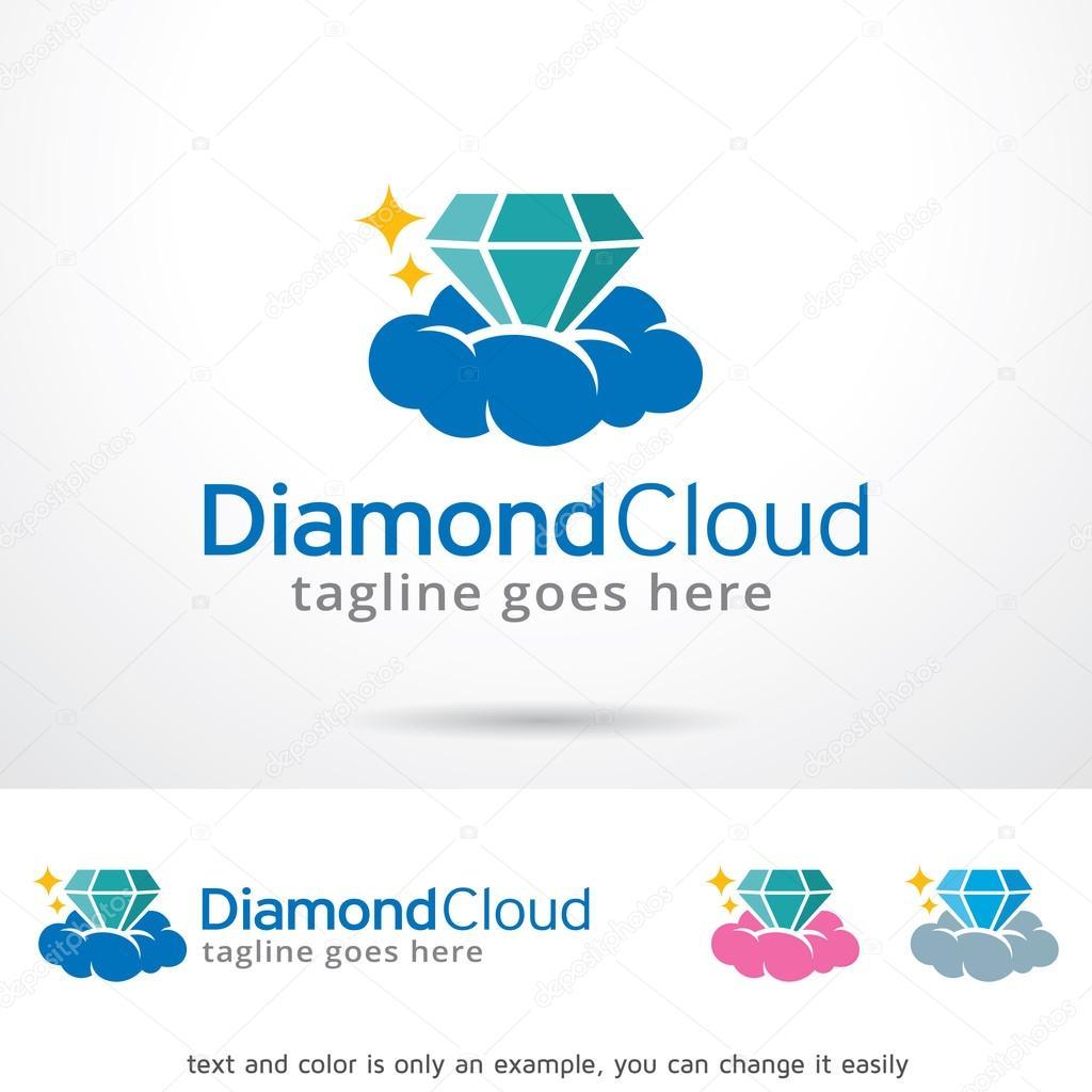nuvem do logotipo do modelo de diamante vetores de stock