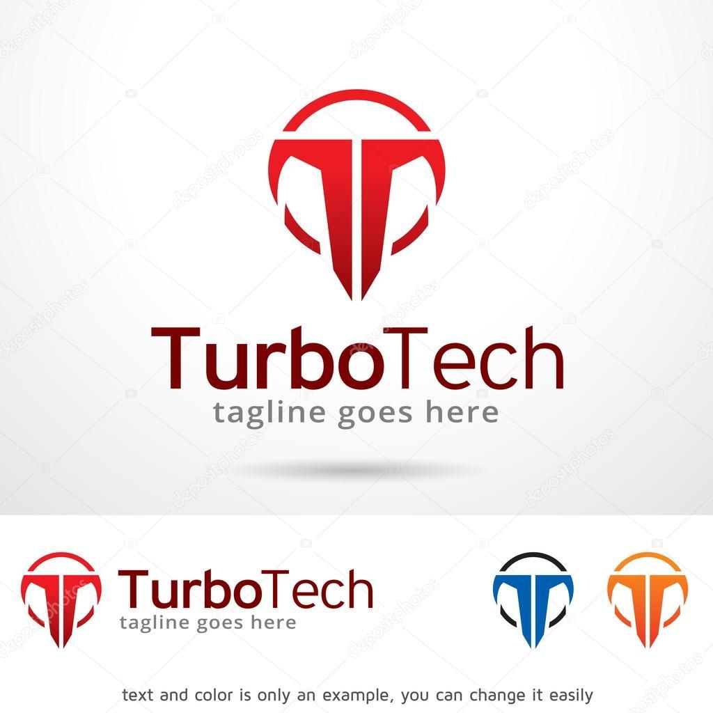Diseño de plantillas de logotipo Turbo Tech letra T — Vector de ...