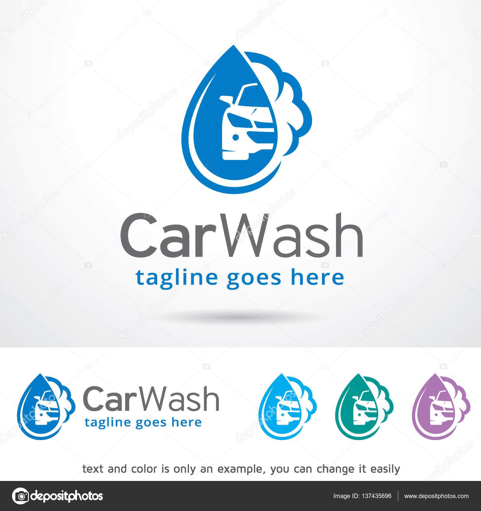 Lavado de coches logotipo plantilla diseño Vector — Archivo ...