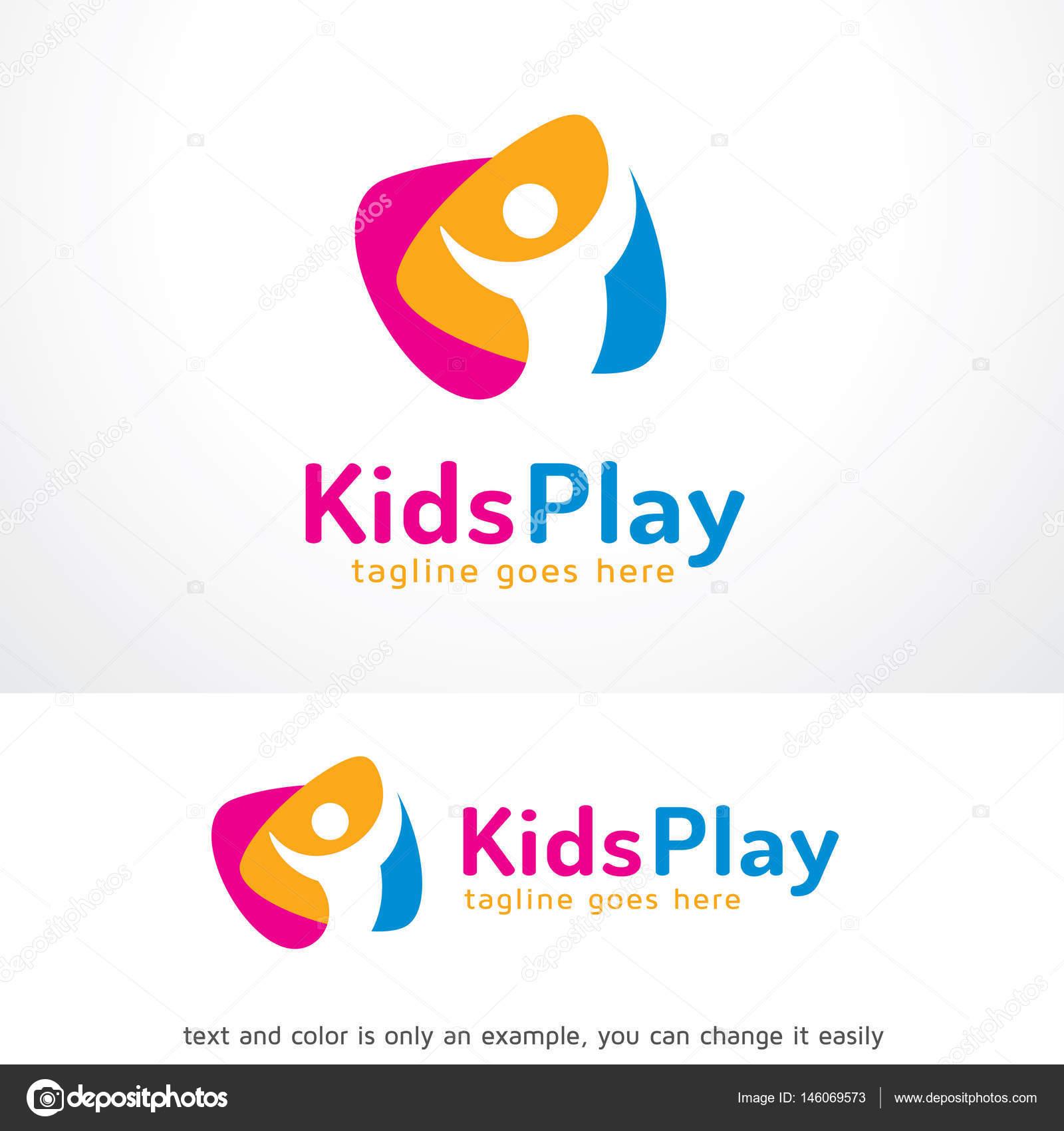 Los niños jugar Logo plantilla diseño Vector — Vector de stock ...