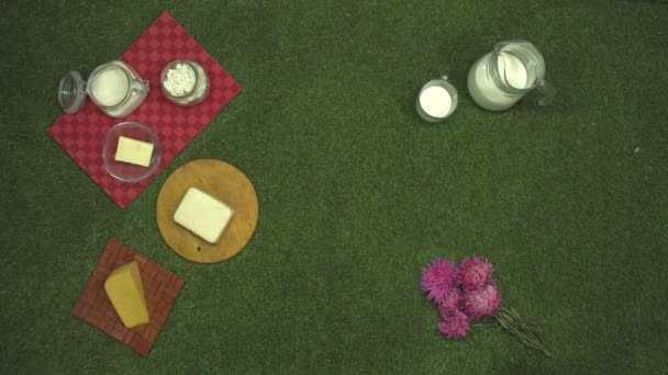 Dairy products on the grass. Top view. Slow motion 2x. Left side: sour cream, cottage cheese, butter, two types of cheese. On the right are: milk in various bottles or it can be: sour milk, yogurt, kefir, fermented baked milk. Male hand puts a basket