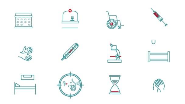 Grafische Animationssymbole für das Gesundheitswesen. Medizinische Geräte für das Internet, Online-Beratung, Diagnostik, Krankenhaus-Website. Cartoon-flaches Video-Piktogramm im Web-Lineart-Stil für mobile App