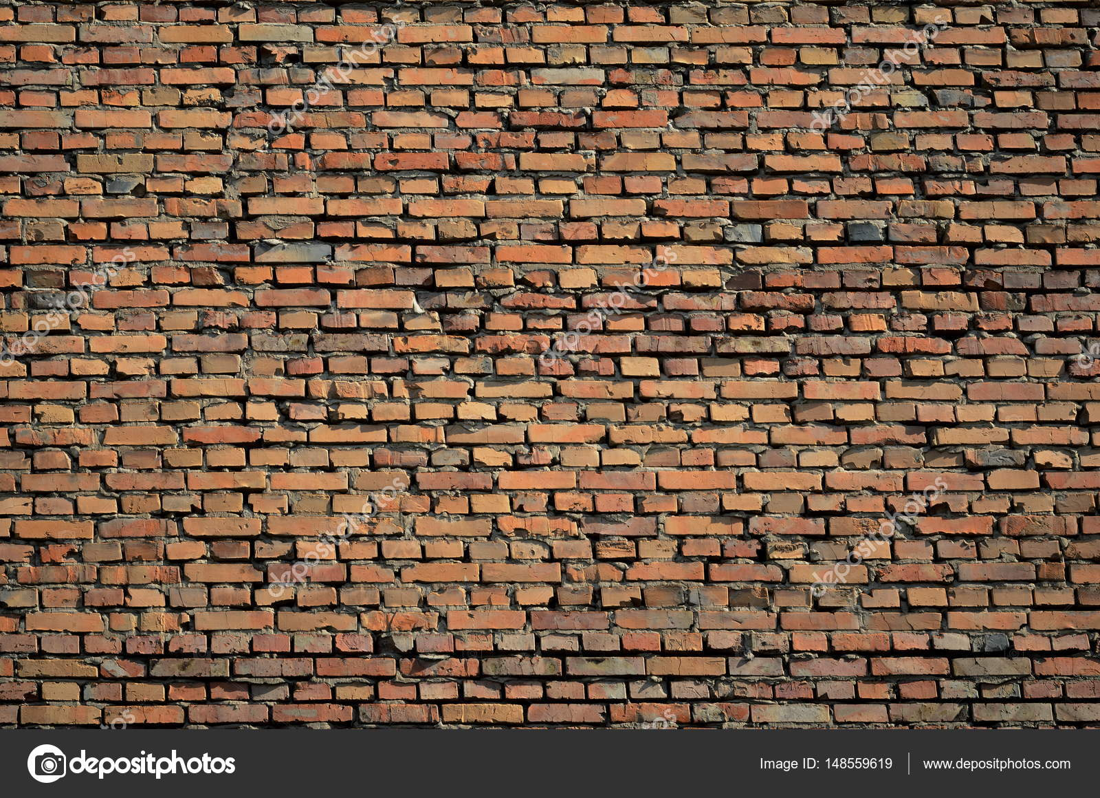 Texture Of A Vintage Rustic Old Red Brick Wall Background Stock Photo