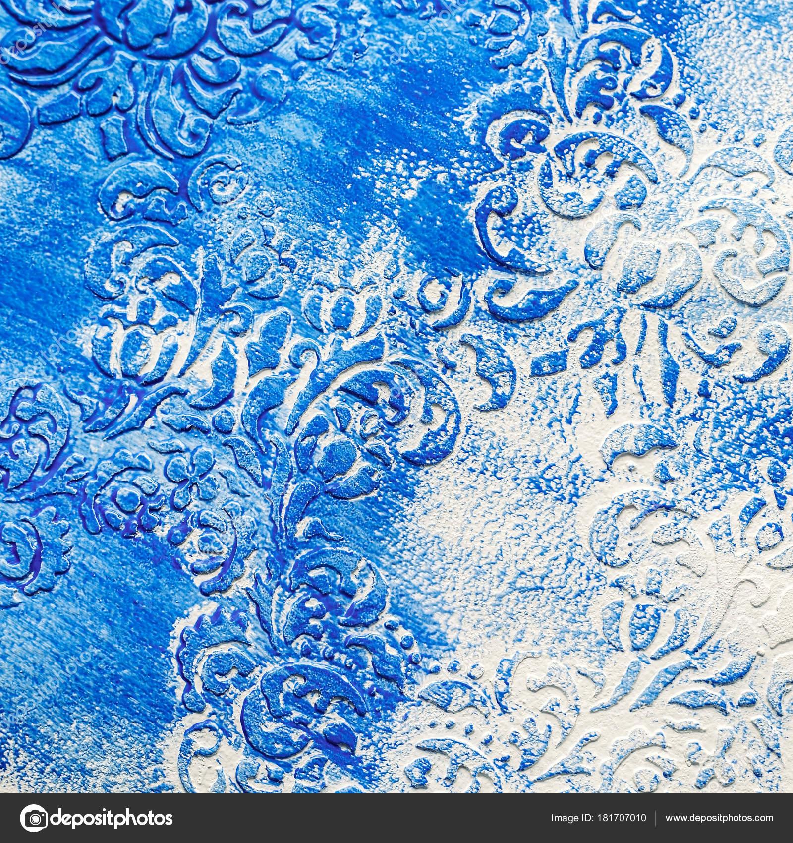2971992fc6 Félárnyék Texturált Papír Kék Fehér Mintás Befejezetlen Akril Minta Festék–  stock kép