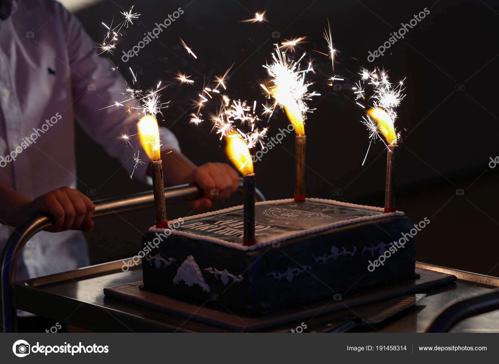 Birthday Cake Fireworks Stock Photo Malleo 191458314