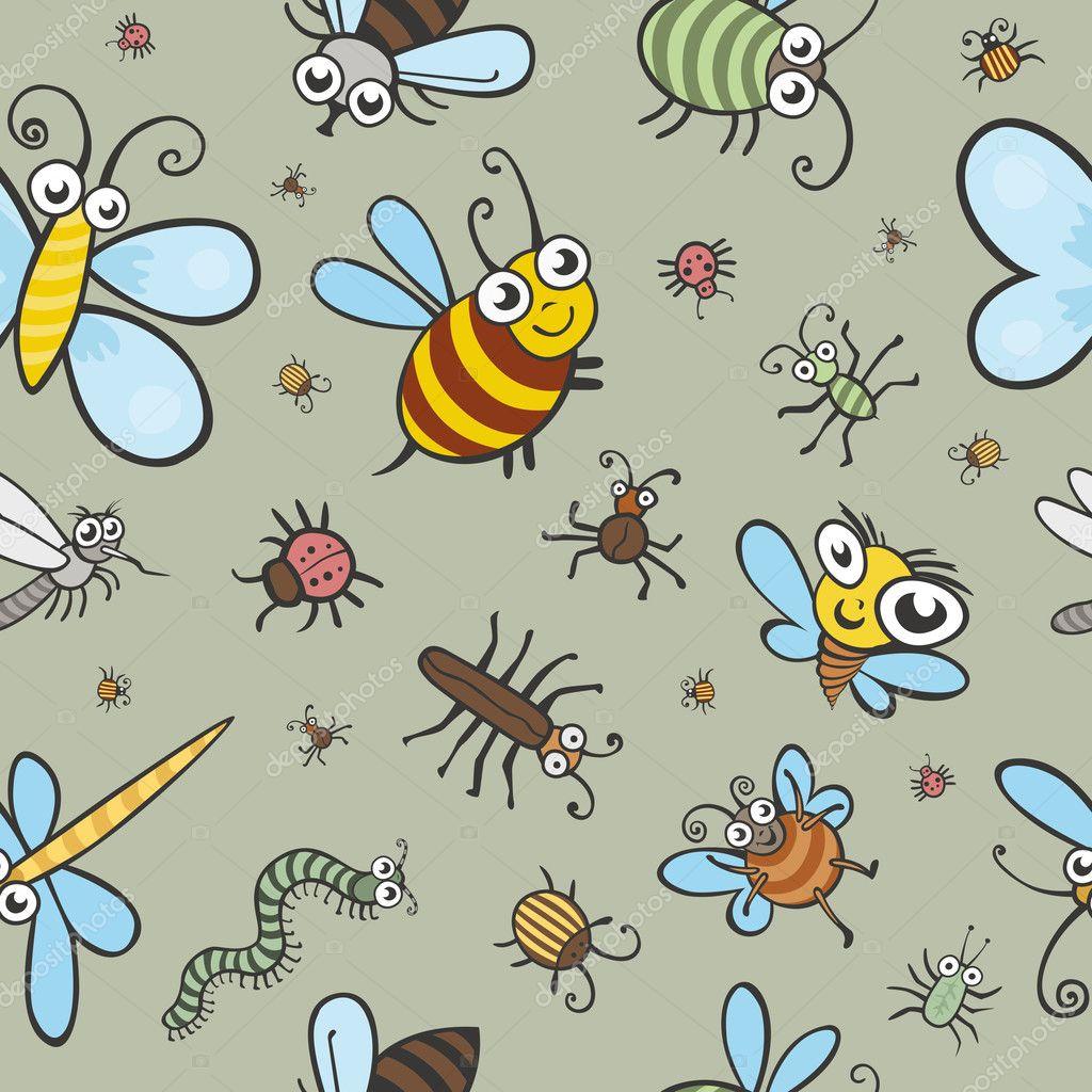 Imágenes Bichos Infantiles Divertida Textura De Vector