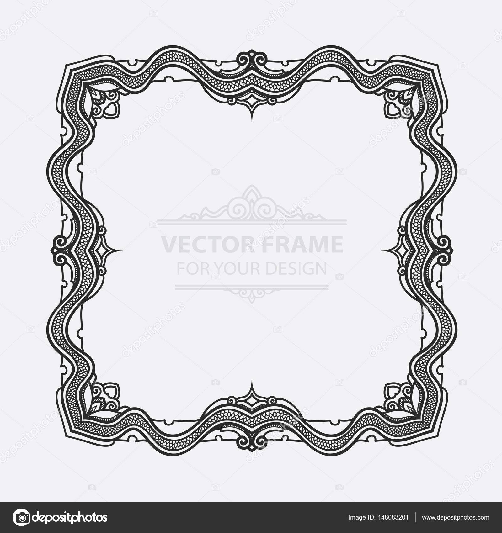 Vector Vintage set retro marco, tarjetas. De flores grabado real ...