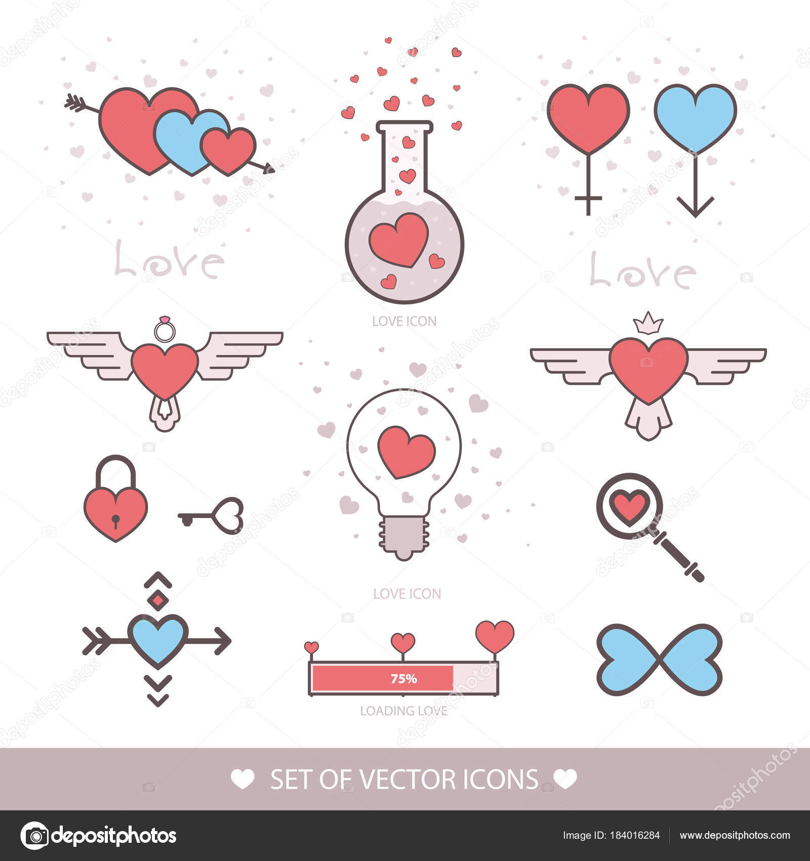 Set Decorative Icon For Valentines Day Chemistry Bulb Castle Bird Heart Diagram Wedding Infinity Arrow Cupid Of Love Laboratory Elixir Template Logo Vector Icons By Subjob