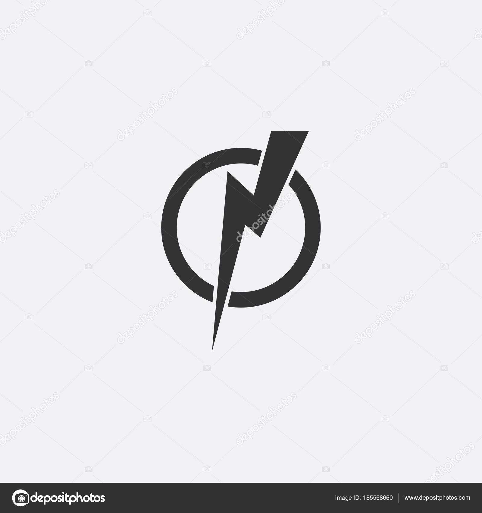Blitz, elektrische Kraft Vektor Icon Design-Element. Energie und ...