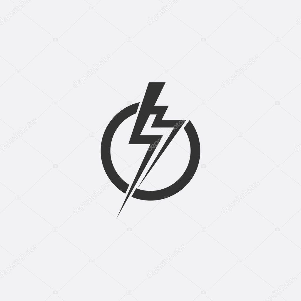 fulmini  elettrico potenza vettoriale icona elemento di disegno  concetto di simbolo di
