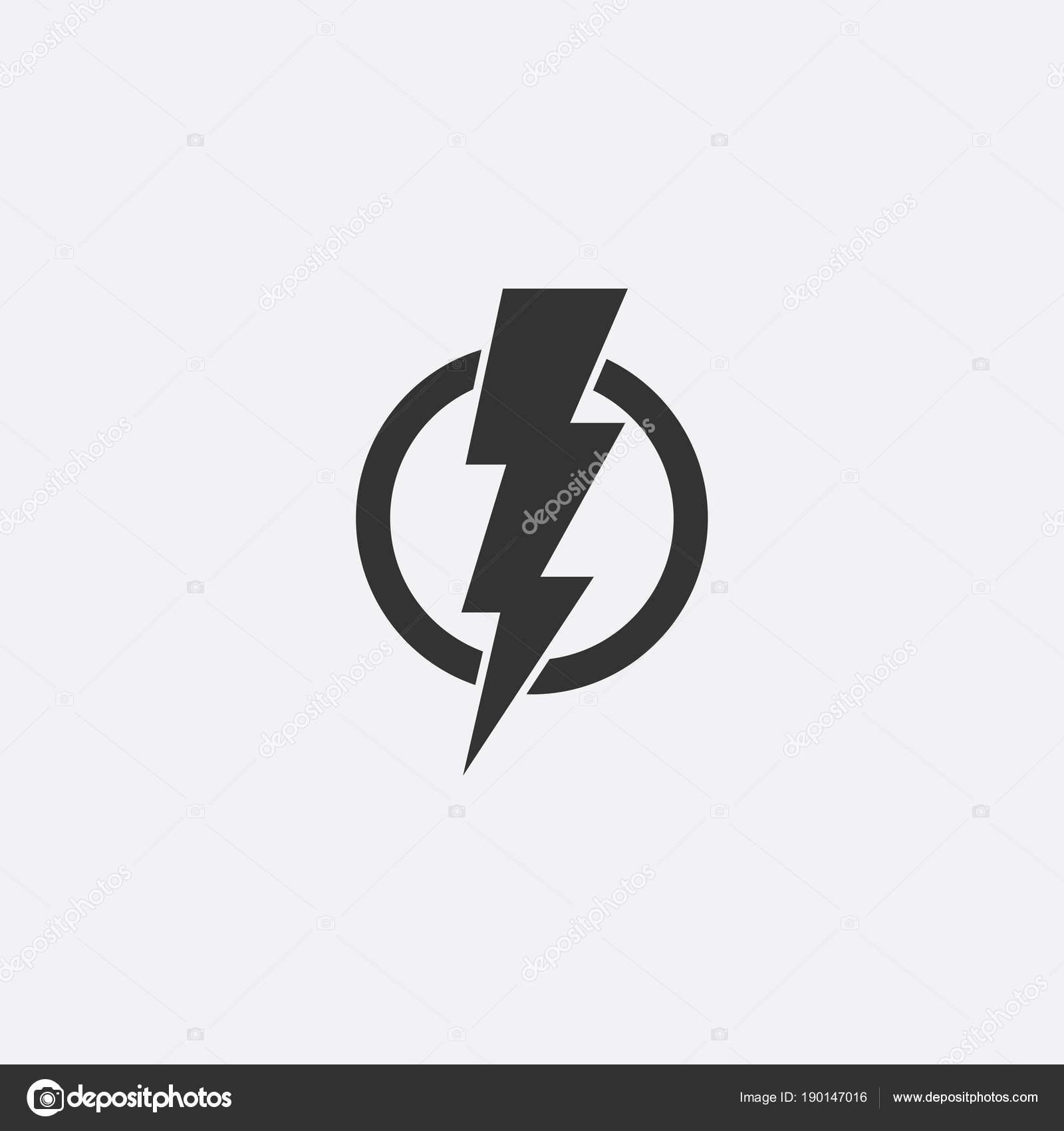Fulmini Elettrico Potenza Vettoriale Icona Elemento Di Disegno