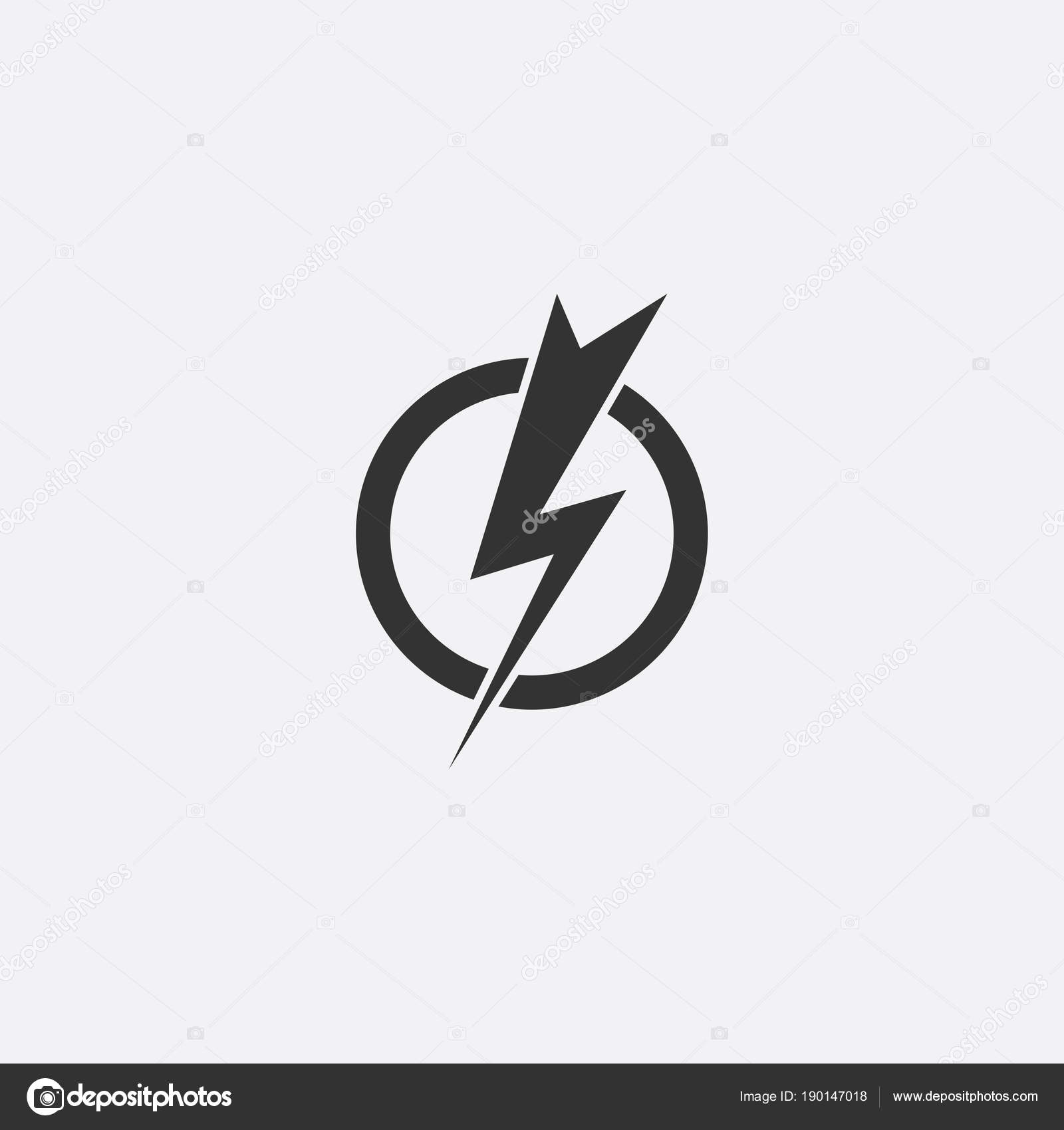 Lightning, electric power vector icon design element. Energy and ...