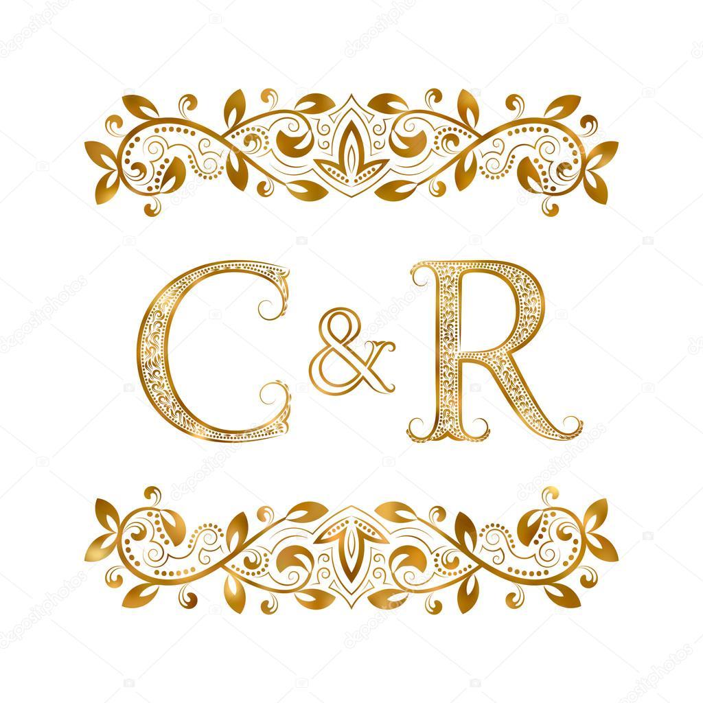 Símbolo C y R iniciales vintage. Las letras están rodeadas ...