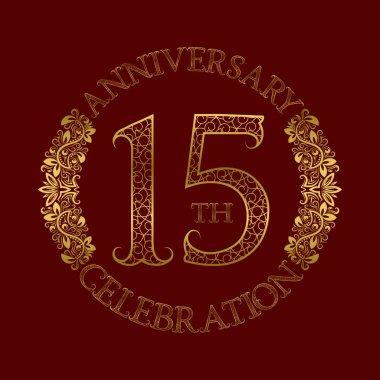 15th anniversary celebration vintage patterned logo symbol.