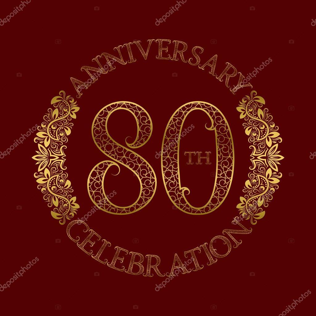 80th Anniversary Celebration Vintage Patterned Logo Symbol Stock